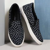 Couch Potato Printed Slip Ons - Black