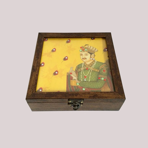 Handpainted Royal Yellow Maharaja Wooden Box