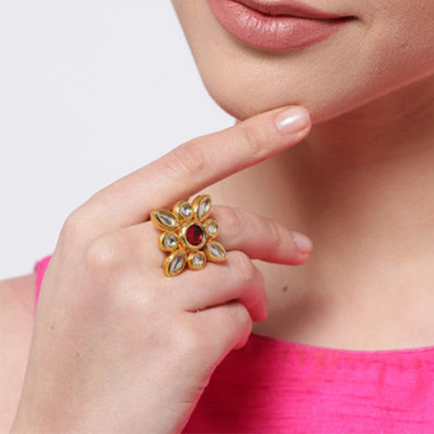 Gold Kundan Ring With Stones
