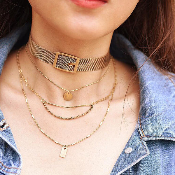 Layered Necklace with Choker