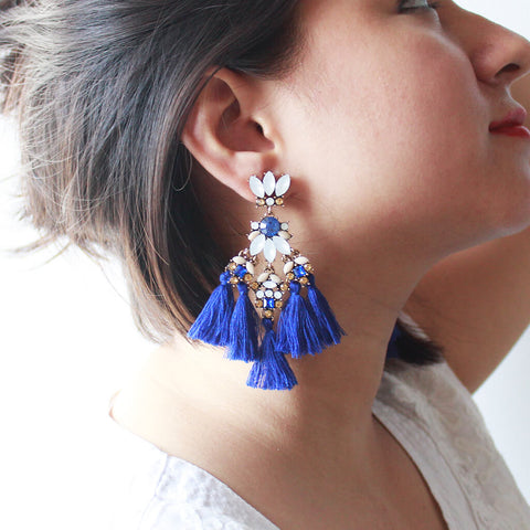 Gemstones & Triple Layered Tassels Statement Earrings