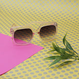 Oversized Clear Frame Sunglasses with Gradient Lens