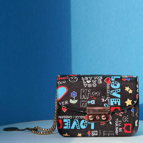 Quirky Slogan Print Sling Bag