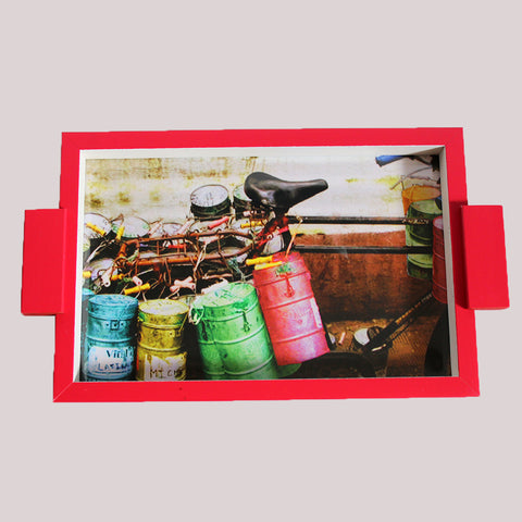 Handpainted Vintage Dabbas Wooden Tray
