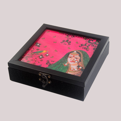Handpainted Royal Pink Rani Wooden Box