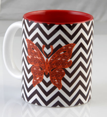 Chevron Butterfly Print Mugs - Set Of 2