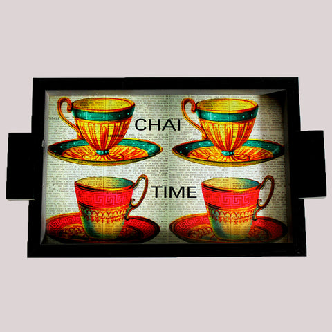 Handpainted Chai Time Wooden Tray