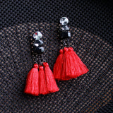 Triple Tassel Drop Earrings