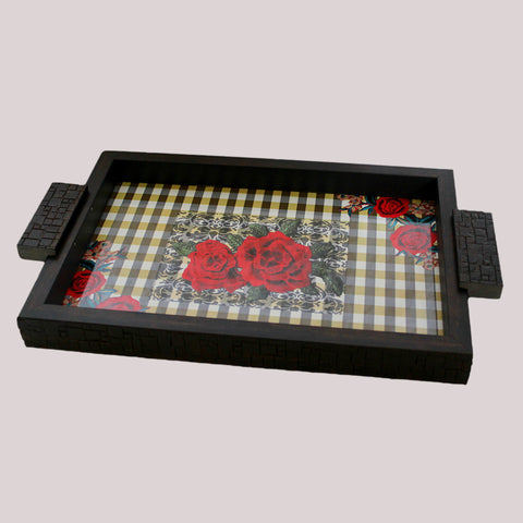 Handpainted Roses & Checks WoodenTray