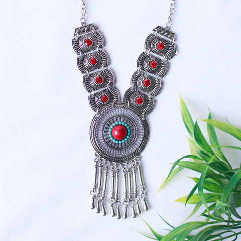 Oxidized Stone Studded Red Statement Necklace Set