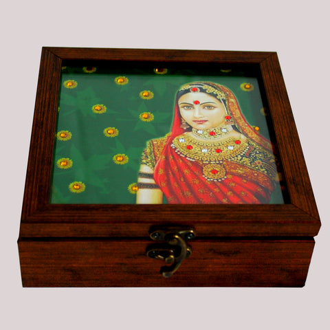 Handpainted Royal Green Maharani Wooden Box