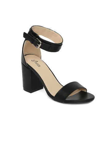 Estatos Matte Leather Ankle Strap Block High Heeled Black Sandals