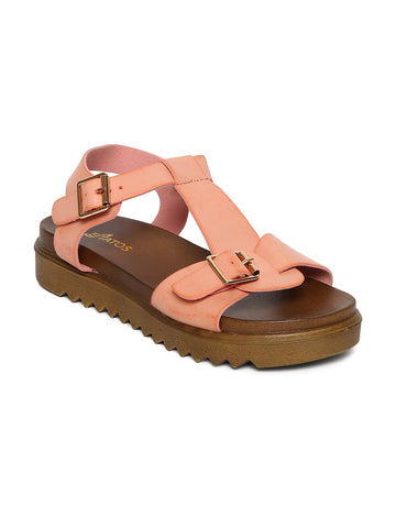Estatos Faux Leather Open Toe  Brown Platform Heel  Baby Pink Sandals for Women