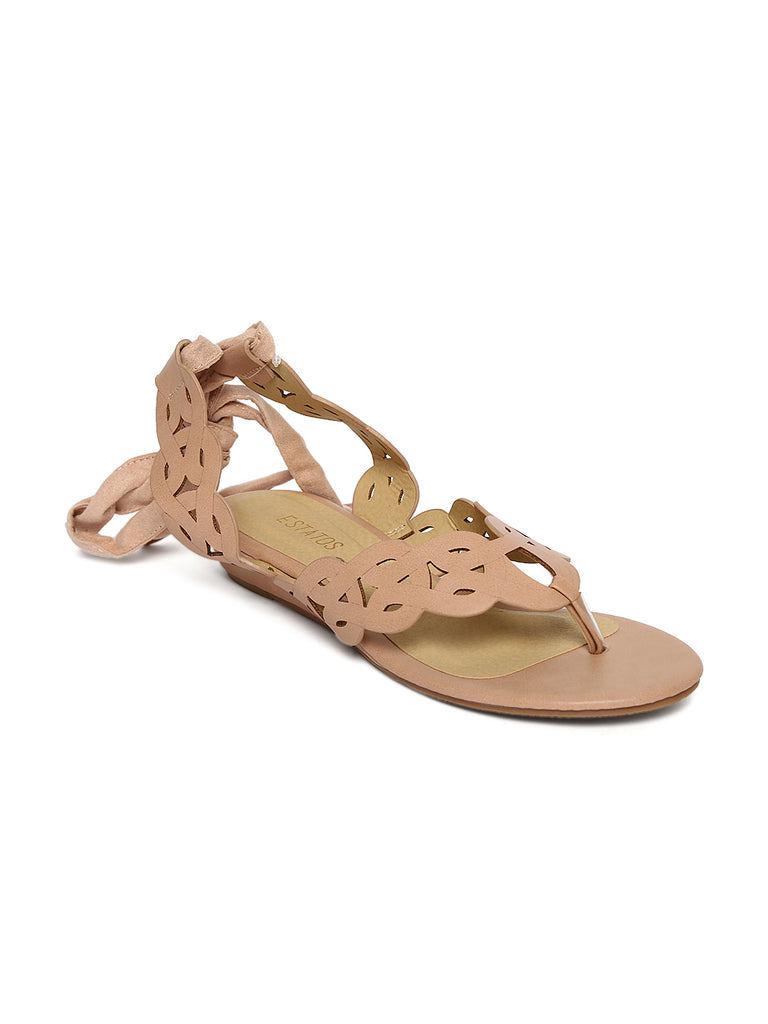 048e6498256 Estatos Leather Beige Colour Wrap Around Strap Open Toe Casual Flat Sa –  FizzExpress