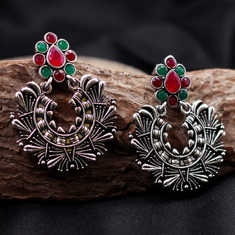 Antique Silver Tone Earrings with Multicolor Stones