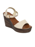 Estatos PU Beige Buckle Closure Ankle Strap Open Toe Wedges
