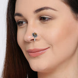 Silver Tone Flower Patterned Nose Pin