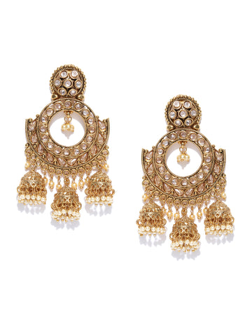 Gold Tone Chandbali Earrings With Stones