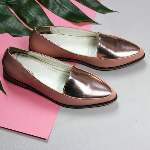 Metallic Panel Peach Loafers