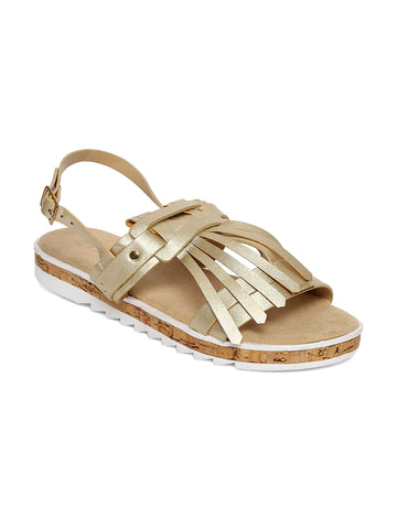 Estatos Leather Golden Buckle Closure Twin Strap Open Toe Flat Sandals