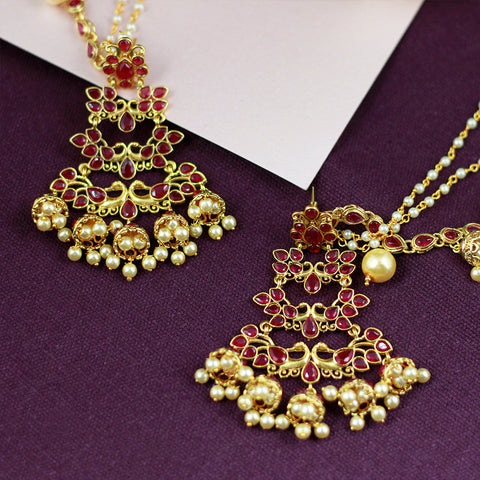 Layered Kundan Earrings with Tiny Jhumkas