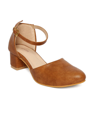 Estatos Broad Toe Brown Comfortable Block Heel Buckle Closure Sandals  for Women