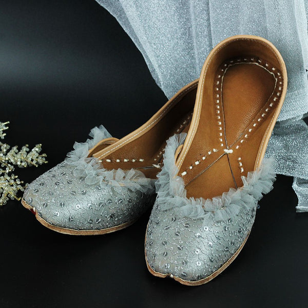 Sequin Embroidery Grey Mojaris with Ruffles