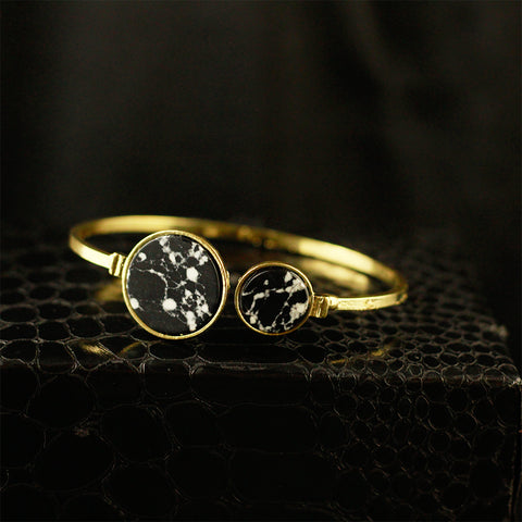 Gold Kada With Black Stones