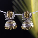 Lotus Motif Dual Tone Jhumka Earrings