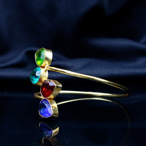 Gold Tone Bracelet with Multicolor Stones