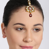 Gold Kundan Maang Tikka With Pearl String