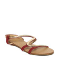 Estatos Faux Leather Open Toe Snake Shape Metallic Strap Burgundy Flat Sandals for Women