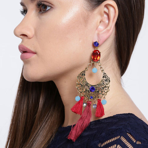 Handmade Tassel & Stone Costume Jewellery Earrings