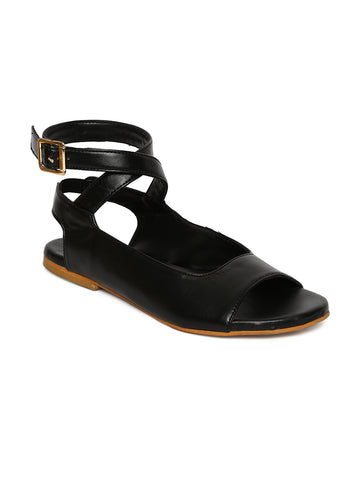 Estatos Black Buckle Closure Ankle Strap Open Toe Flat Sandals