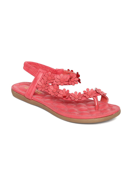 Estatos Faux Leather Flower Decorated Toe Pink Flat Sandals for Women