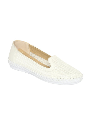 Estatos PU White Coloured Broad Toe Flat Loafers