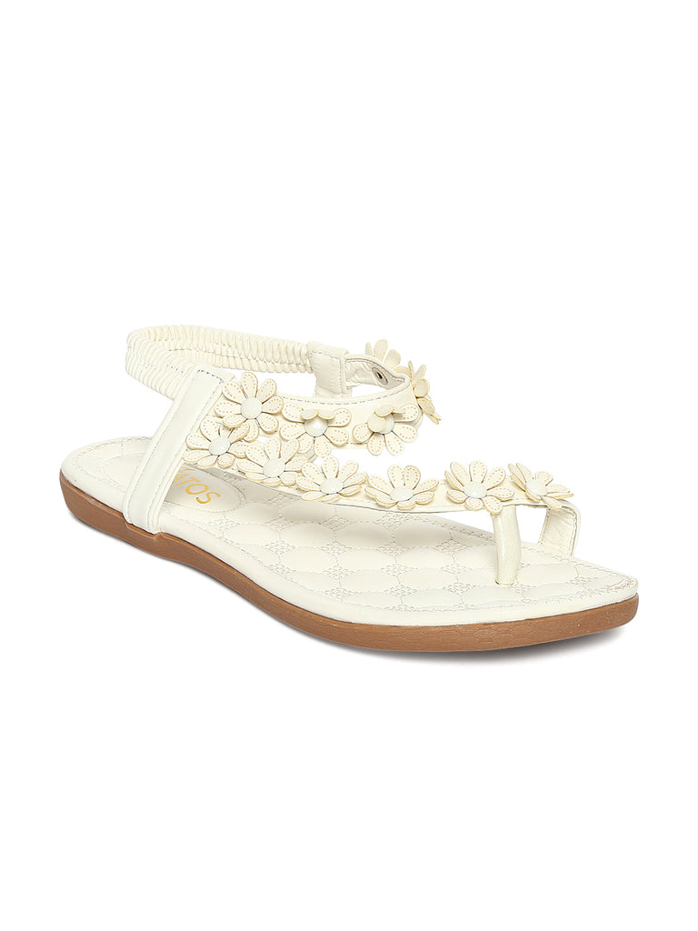 c6ee6489db5f5 Estatos Faux Leather Flower Decorated Toe White Flat Sandals for Women –  FizzExpress
