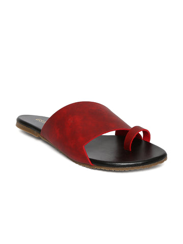 Estatos Maroon Colour Broad Strap Open Toe Casual Flats