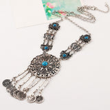 Oxidized Stone Studded Statement Necklace Set
