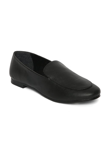 Estatos Broad Toe Black Comfortable Flat Slip On Loafers for Women