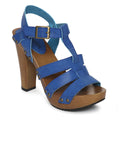 Estatos Pattern Leather Open Toe Buckle Closure Block Wooden Heel Blue Gladiator Sandals for Women