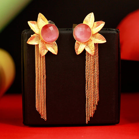 Gold Matte Flower Shape Earrings With Multi Chains