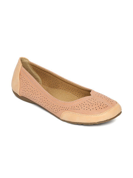 Estatos Perforated Leather Cut work Platform Heeled Peach ballerina