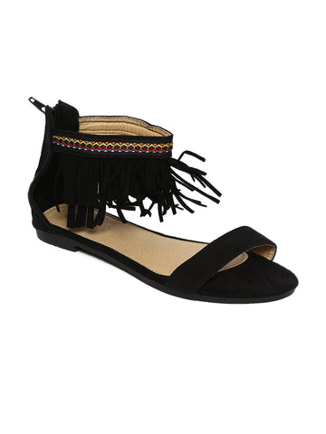 Estatos Suede Leather Open Toe Ankle Fringed Strap Zip Closure Black Flat Sandals for Women