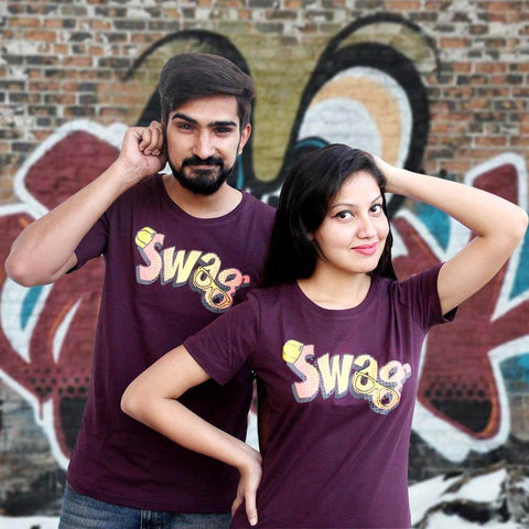 T-Shirt Combo For Couple: Swag Design (Purple)