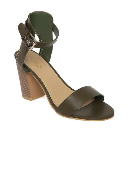 Estatos Leather Olive  Buckle Closure Ankle Strap Open Toe Block Heel Sandals