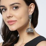 Long Hanging Silver Tone Earrings