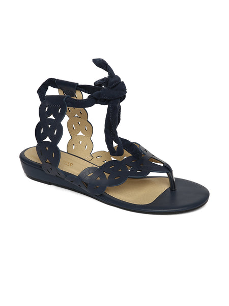 Estatos Leather Navy Blue Wrap Around Strap Open Toe Casual Flat Sandals