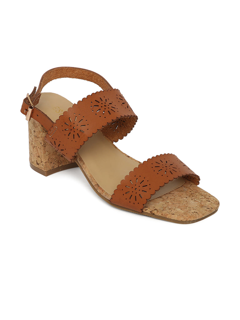 top brands buying cheap cheapest Estatos Leather Brown Coloured Broad Strap Block Heel Sandals