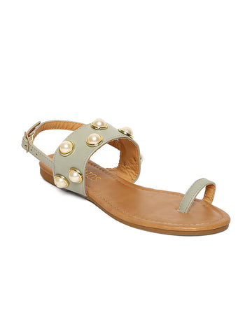 Estatos Sea Green Buckle Closure Open Toe  Broad Strap Flats